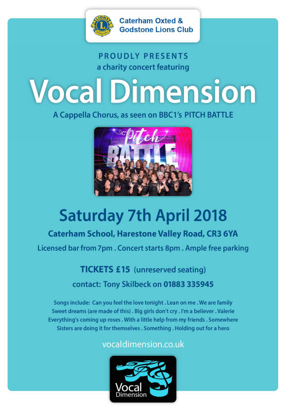Saturday 7th April 2018 at 8pm. Caterham School Harestone Valley Road, Caterham, CR3 6YA